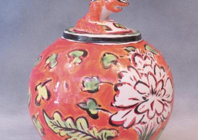 28. Chipmunk Jar (Debra Kuzyk and Ray Mackie), 2016: Cone 6 porcelain; on-glaze decoration. Not for sale.