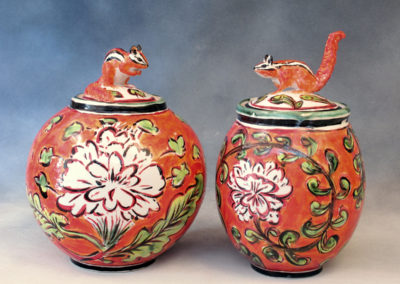 28. 29. Chipmunk Jars (Debra Kuzyk and Ray Mackie), 2016: Cone 6 porcelain; on-glaze decoration. Not for sale (left), $600 (right).