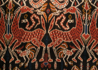 Rusa (Deer) cloth (Ibu Hedi): Dutch cotton, indigenous natural dyes, (Mengkudu root, Indigo plant, Kayu (tree dye,yellow): weaving. $3500.