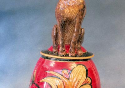 32. Jackrabbit Jar (Debra Kuzyk and Ray Mackie), 2016: Cone 6 porcelain; carved decoration. Not for sale.