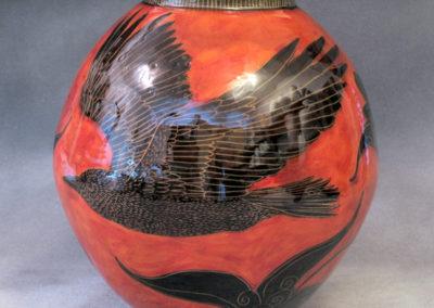 34. Crow Vase (Debra Kuzyk and Ray Mackie), 2016: Cone 6 porcelain; underglaze decoration. SOLD.