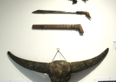 Sumba horse swords and dagger (Unknown artist): Water Buffalo horn, local hard wood, and Iron: . NFS $300; Carved Water buffalo Skull (Unknown artist): Water buffalo skull: Sold.