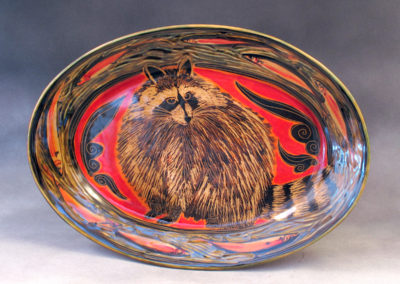40. Raccoon Platter (Debra Kuzyk and Ray Mackie), 2016: Cone 6 porcelain. SOLD.