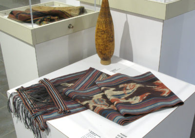 Ikat Kepala (head cloth) (Unknown artist): Imported cotton, indigenous natural dyes (Mengkudu Root, Indigo plant, and imported dyes): $300