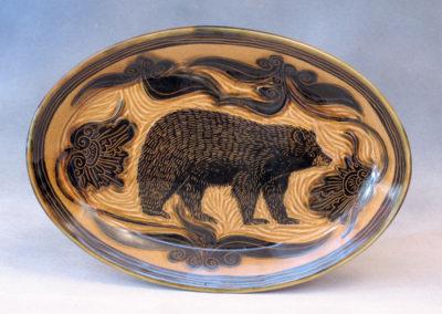 43. Black Bear Platter (Debra Kuzyk and Ray Mackie), 2016: Cone 6 porcelain. SOLD.