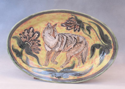 44. Coyote Platter (Debra Kuzyk and Ray Mackie), 2016: Cone 6 porcelain. $600.