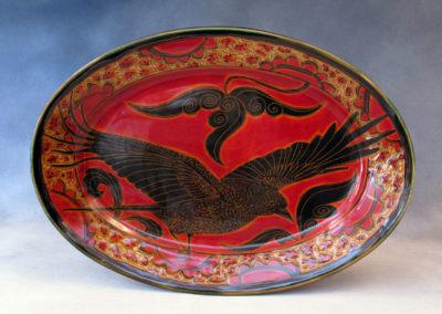 48. Crow Platter (Debra Kuzyk and Ray Mackie), 2016: Cone 6 porcelain. $600.