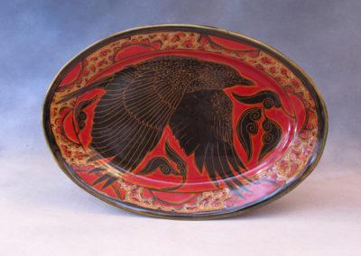 49. Crow Platter (Debra Kuzyk and Ray Mackie), 2016: Cone 6 porcelain. $400.