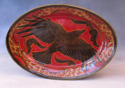 51. Crow Platter (Debra Kuzyk and Ray Mackie), 2016: Cone 6 porcelain. $400.
