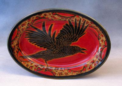 52. Crow Platter (Debra Kuzyk and Ray Mackie), 2016: Cone 6 porcelain. $200.