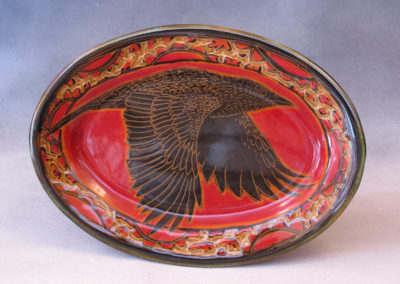 54. Crow Platter (Debra Kuzyk and Ray Mackie), 2016: Cone 6 porcelain. $200.