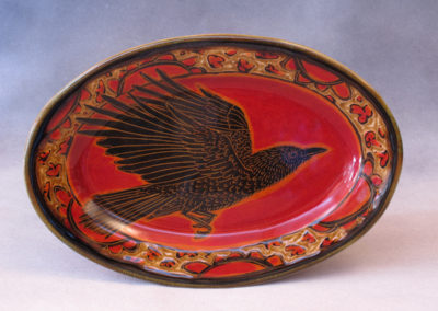 55. Crow Platter (Debra Kuzyk and Ray Mackie), 2016: Cone 6 porcelain. SOLD.