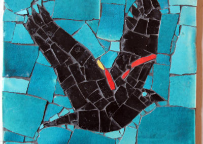 60. Red-winged Blackbird #1 mosaic (Ray Mackie), 2016: Cone 6 porcelain. $250.
