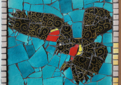 59. Red-winged Blackbird #2 mosaic (Ray Mackie), 2016: Cone 6 porcelain. $250.