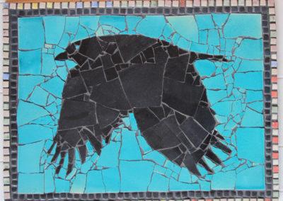 63. Crow Mosaic (Ray Mackie), 2016: Cone 6 porcelain. $600.