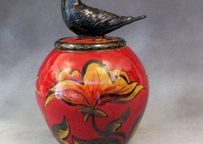 9. Small Crow Jar with Red (Debra Kuzyk and Ray Mackie), 2016: Cone 6 porcelain. $600.