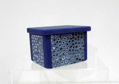 Little Blue Box (Elaina Adams), 2016:  Glass; kilncasted, vitragraph pulled, murrine. Not for sale.
