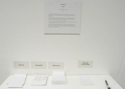 a nomic (Allan Dotson), 2014: Index cards; ink on paper. NFS