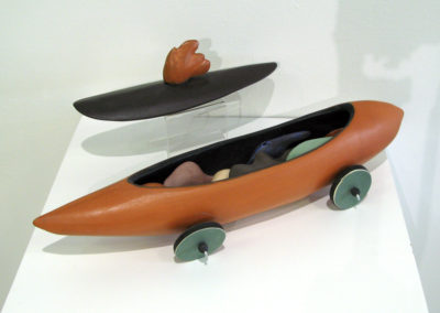 Soft Music on Wheels (Anita Rocamora, Meacham, SK, Canada), 2009: Earthenware, terra sigilita; handbuilt. $750.
