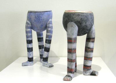 Striped Socks Footed Bowls (Anita Rocamora), 2014: Clay, glazes. $300 each
