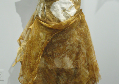 A Formal Post Apocalypse (Christina Bennett): Dupioni silk: Potassium dye. Organza silk: rusting dye. Not for sale.