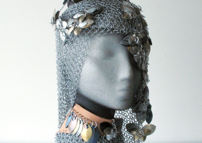 Butterfly Headpiece (Beverley Kobelsky): chainmaille, scales, leather, mesh fabric. Not for sale.
