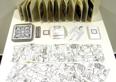 Affluenza: the colouring book (Cathryn Miller  & Monique Martin), 2014: Paper, crayons, self-adhesive labels, purchased tin; Linocuts by Monique Martin; writing, digital design, custom production (printing and assembly) by Cathryn Miller. $48