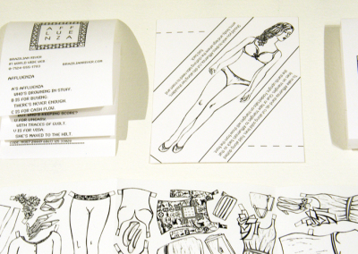 Affluenza: the colouring book (Cathryn Miller  & Monique Martin), 2014: Paper, crayons, self-adhesive labels, purchased tin; Linocuts by Monique Martin, detail