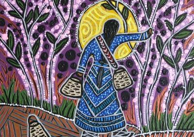 """Leah Marie Dorion """"Chokecherry Woman"""" 2010; Acrylic on canvas; NFS"""