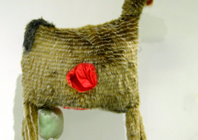 Safety Hat (Cynthia Blanchette, Saskatoon, SK, Canada), 2016: Fake fur and other fabrics, stuffing; sewing. $500.