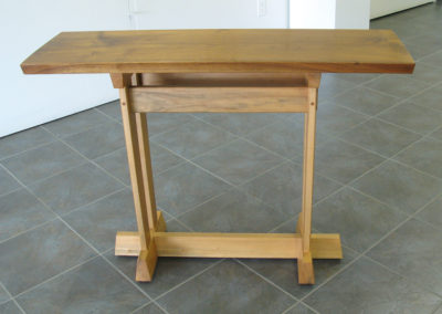 Untitled (Don Kondra, Saskatoon SK, Canada), 2009: Walnut, BC Maple; through, wedged, pinned Mortice & Tenon, angled half lap base, oil/varnish finish. $3,400.