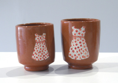 Elizabeth Burritt. Sister Cups. 2015. Earthenware, china paint; Wheel thrown, hand-painted. Sold.