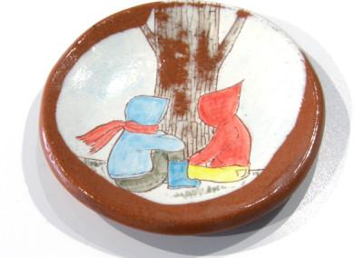 Elizabeth Burritt. Explorers - The Tree. 2015. Earthenware, underglaze; Hand-built, hand-painted. Sold.
