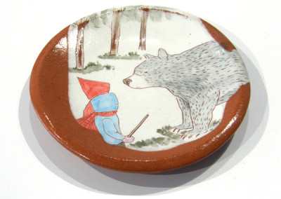 Elizabeth Burritt. Explorers - The Bear. 2015. Earthenware, underglaze; Hand-built, hand-painted. Sold.