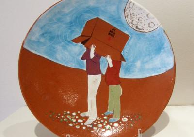 Elizabeth Burritt. This Side Up. 2015. Earthenware, underglaze; Hand-built, hand-painted. Sold.