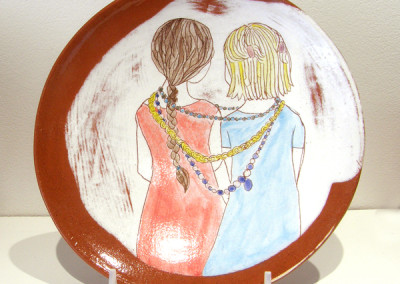 Elizabeth Burritt. Share With Your Sister. 2015. Earthenware, underglaze; Hand-built, hand-painted. NFS.