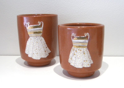 Elizabeth Burritt. Sister Cups. 2015. Earthenware, china paint; Wheel thrown, hand-painted. Not For Sale.