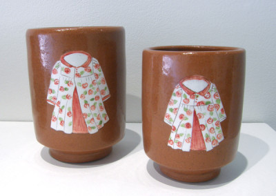 Elizabeth Burritt. Sister Cups. 2015. Earthenware, china paint; Wheel thrown, hand-painted. $70.