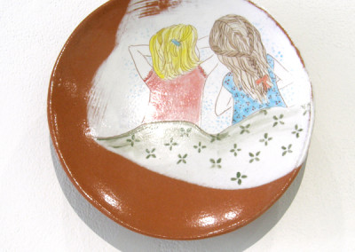 Elizabeth Burritt. Secrets. 2015. Earthenware, underglaze; Hand-built, hand-painted. Not For Sale.