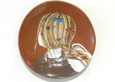 Elizabeth Burritt. All Fancy. 2015. Earthenware, underglaze; Hand-built, hand-painted. $65.