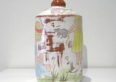 Elizabeth Burritt. Close Your Eyes. 2015. Earthenware, underglaze, china paint; Wheel thrown, hand-painted. Not For Sale.