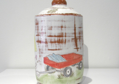 Elizabeth Burritt. Close Your Eyes. 2015. Earthenware, underglaze, china paint; Wheel thrown, hand-painted. Not For Sale.