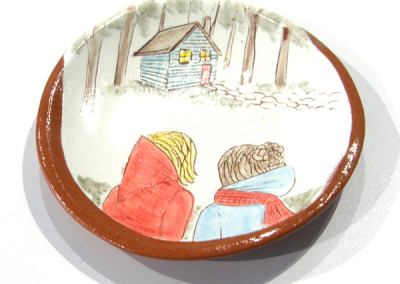 Elizabeth Burritt. Explorers - The Cabin. 2015. Earthenware, underglaze; Hand-built, hand-painted. Sold.