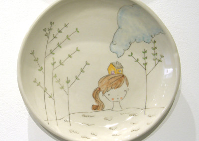 Carole Epp. Forever prairie girl. 2015. Clay, glazes; △ six, handbuilt, underglazes and clear glaze, fired in electric kiln. $75.