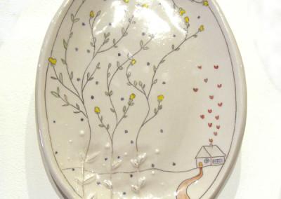Carole Epp. Hibernating introvert. 2015. Clay, glazes; △ six, handbuilt, underglazes and clear glaze, fired in electric kiln. Sold.
