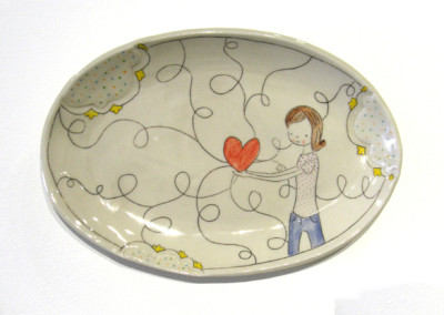 Carole Epp. All she has to offer. 2015. Clay, glazes; △ six, handbuilt, underglazes and clear glaze, fired in electric kiln. $80.