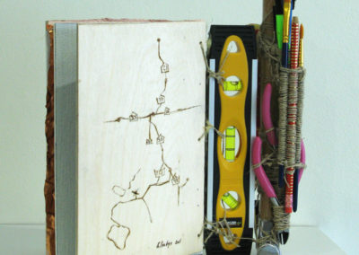 Emma Bound Survival Book (Elizabeth Babyn, Saskatoon, SK, Canada), 2016: Wire, string, paper, rubber, wood, metal. $175.