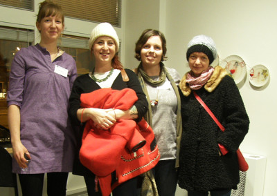 Reception: Artists Erin Weiss and Carole Epp with friends.