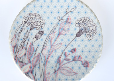 Jenn Demke-Lange. Forget-Me-Not Detail. 2015. Porcelain, glazes; Hand-built, glaze, illustrated anaglyph decals. Sold.