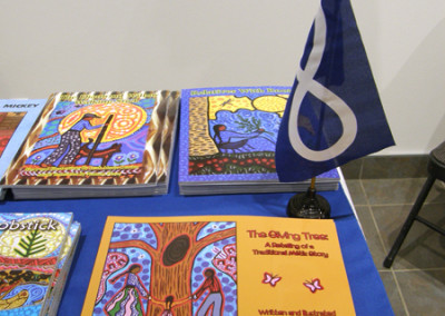 Gabriel Dumont Institute display featured books illustrated by Leah Dorion